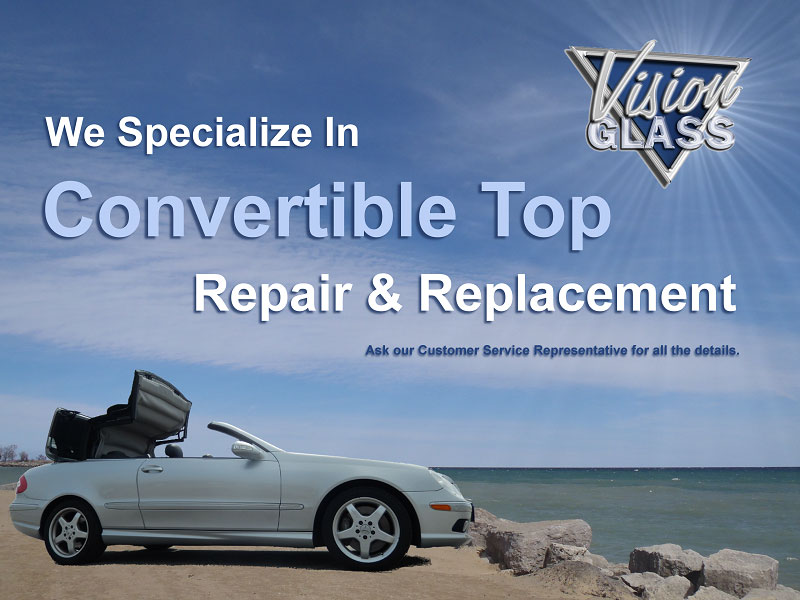 Convertible top care, supply, installation and repair  Rear glass